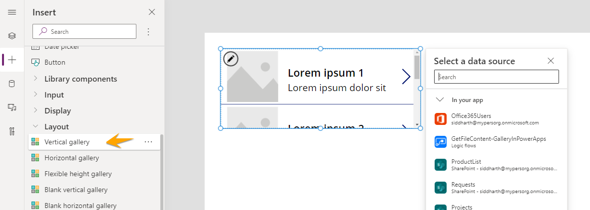 PowerApps Vertical Gallery with a Horizontal Scroll bar.